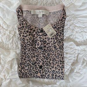 Ann Taylor Loft Cheetah Print Cardigan